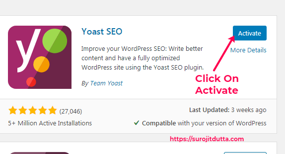 Yoast SEO Plugins Activations Process