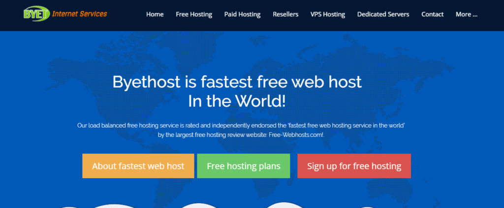 Bytehost another Free web hosting Sites
