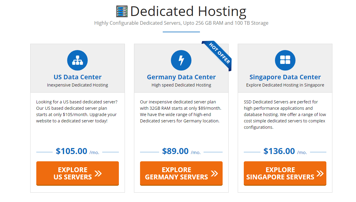 Dedicated web server plans of accu web hosting