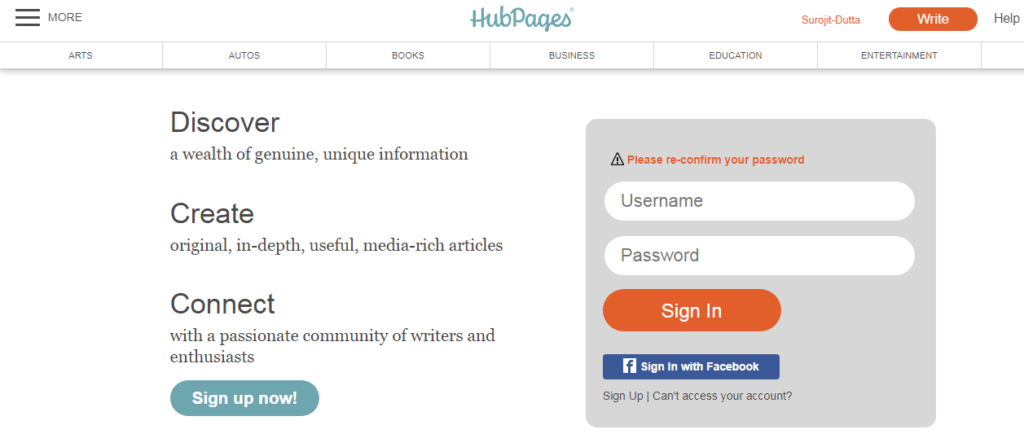 Hubpages Another free blogging Platforms