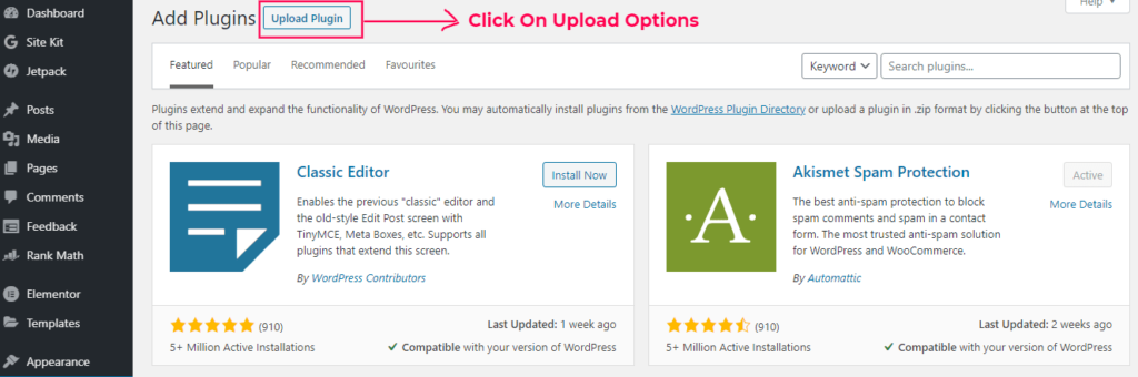 How To Install WordPress Plugin Using Upload Options