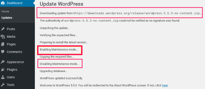 WordPress Maintenence Mode Details