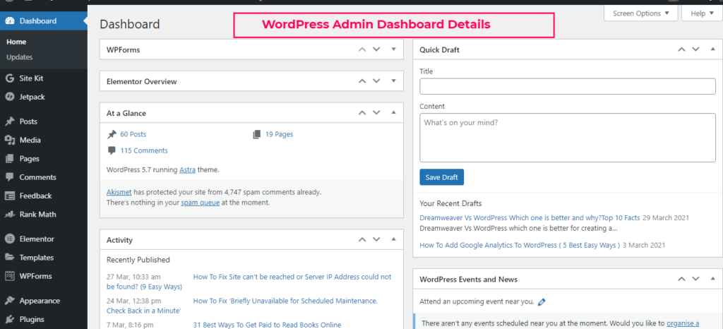 Dreamweaver Vs WordPress - WordPress Admin Dashboard Details