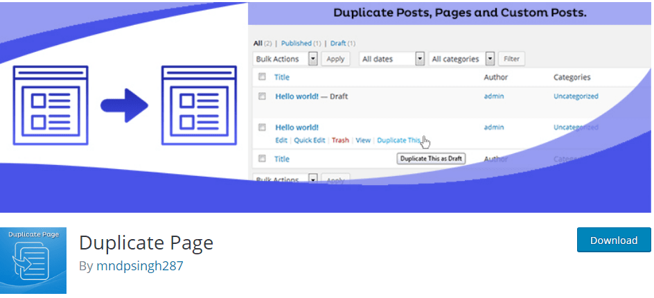 How to create a WordPress duplicate page with duplicate page plugin